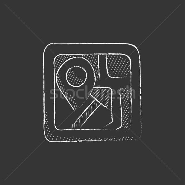 Map with pointer. Drawn in chalk icon. Stock photo © RAStudio