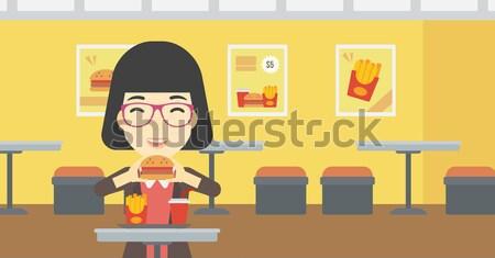 женщину еды гамбургер кафе вектора дизайна Сток-фото © RAStudio