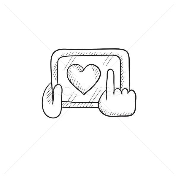 Stock fotó: Kezek · tart · tabletta · szív · felirat · rajz
