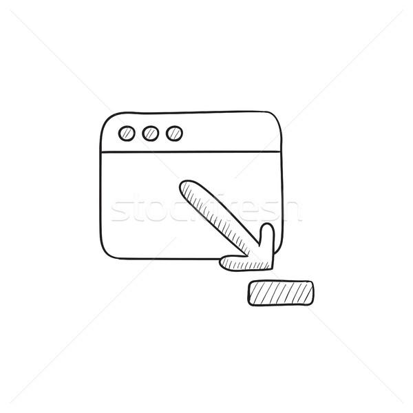 Tarayıcı pencere indirmek imzalamak kroki ikon Stok fotoğraf © RAStudio