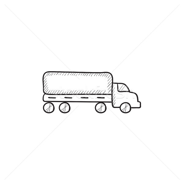 Camion di consegna sketch icona vettore isolato Foto d'archivio © RAStudio
