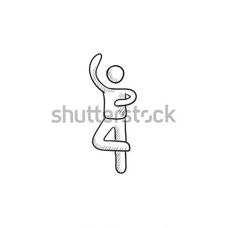 Maschio figura skater sketch icona vettore Foto d'archivio © RAStudio