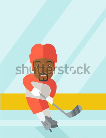 Man ice skating vector illustration. Stock photo © RAStudio