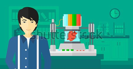 человека играет компьютерная игра азиатских гостиной наушники Сток-фото © RAStudio