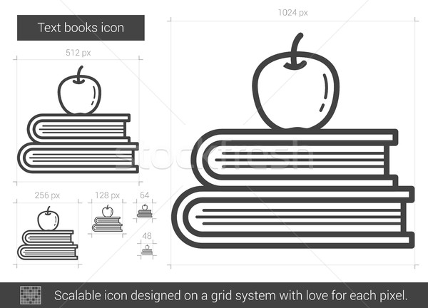 Stockfoto: Tekst · boeken · lijn · icon · vector · geïsoleerd