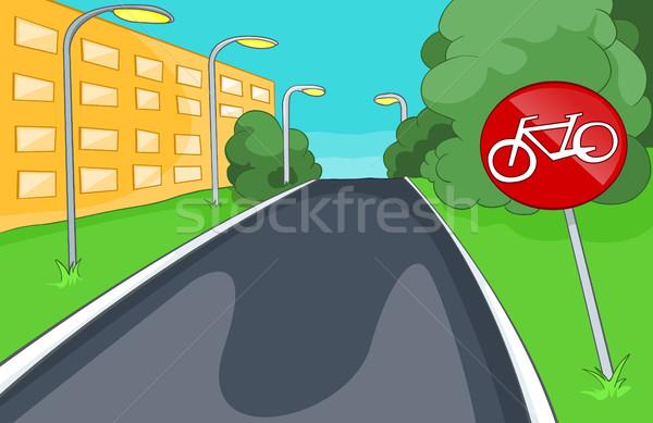 Cartoon background of bicycle lane. Stock photo © RAStudio