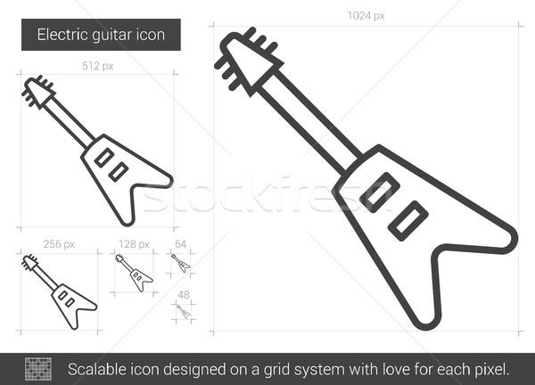 Stockfoto: Elektrische · gitaar · lijn · icon · vector · geïsoleerd · witte
