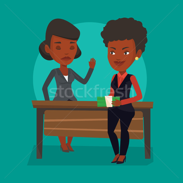 Femme jeunes femme d'affaires corruption vecteur Photo stock © RAStudio