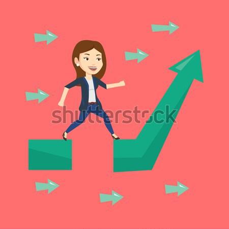 Gelukkig zakenvrouw permanente winst grafiek kaukasisch Stockfoto © RAStudio