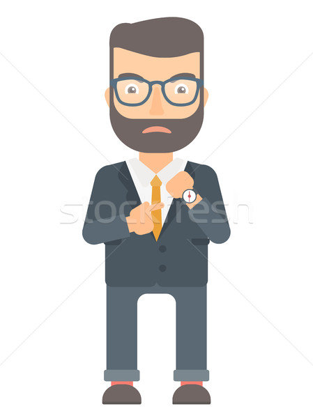 Angry employer pointing at wrist watch. Stock photo © RAStudio