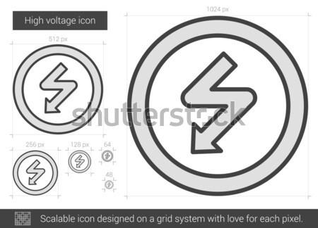 Nagyfeszültség vonal ikon vektor izolált fehér Stock fotó © RAStudio