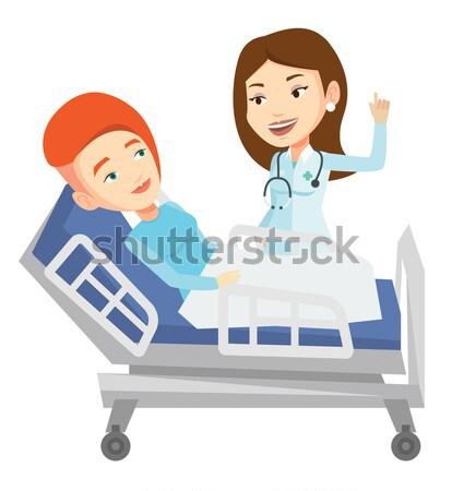 Сток-фото: врач · пациент · кавказский · женщины · указывая · пальца