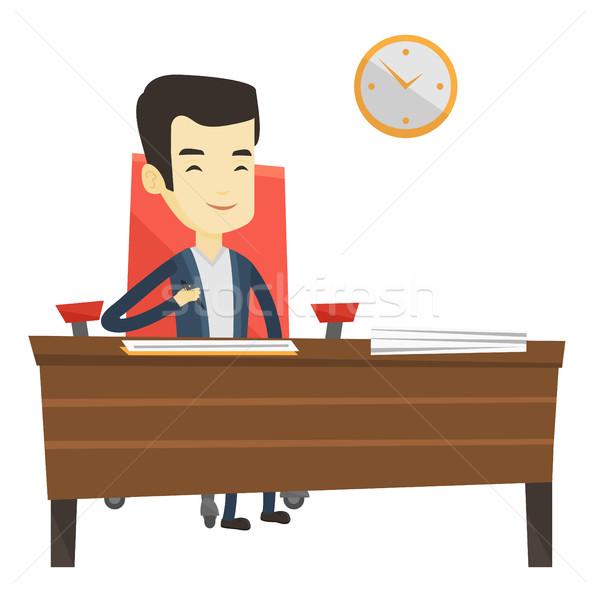 Ondertekening business documenten man contract kantoor Stockfoto © RAStudio