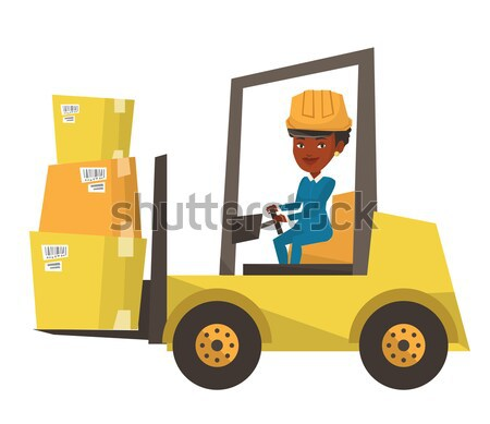 Magazynu pracownika ruchu załadować ciężarówka Zdjęcia stock © RAStudio