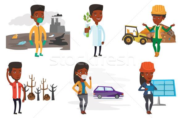 Vector ingesteld ecologie afrikaanse wetenschapper Stockfoto © RAStudio