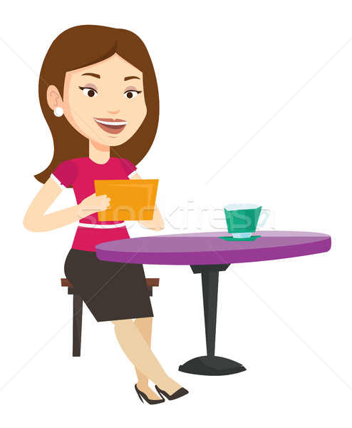 Woman surfing in the social network in cafe. Stock photo © RAStudio