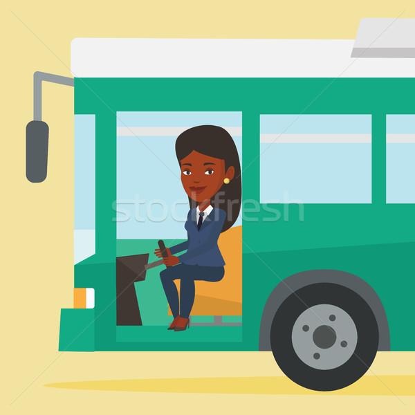 Stockfoto: Afrikaanse · bus · bestuurder · vergadering · stuur · jonge