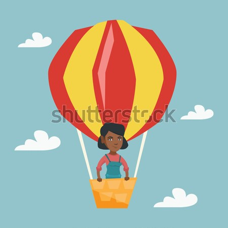 Man vliegen luchtballon permanente mand Stockfoto © RAStudio