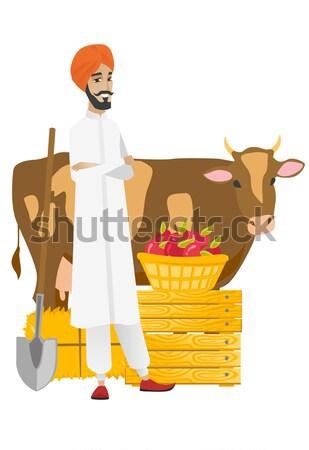 ストックフォト: シニア · 農家 · 立って · 腕 · 牛 · 白人