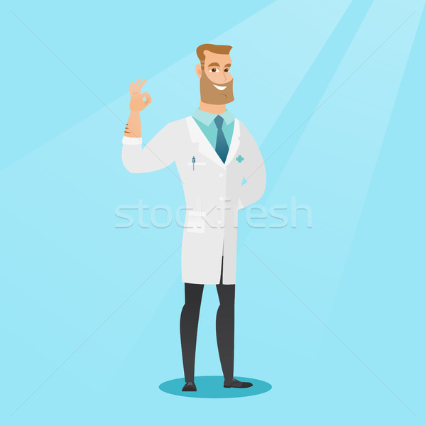 Doctor showing ok sign vector illustration. Stock photo © RAStudio