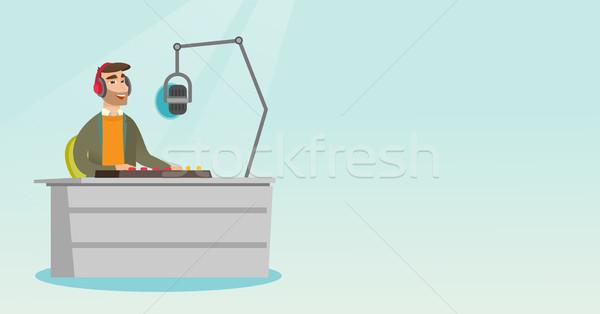 Dj working on the radio vector illustration Stock photo © RAStudio