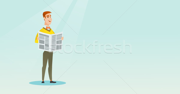 Man reading a newspaper vector illustration. Stock photo © RAStudio