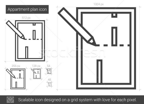 Apartamento plano linha cone vetor isolado for Apartment stock plans