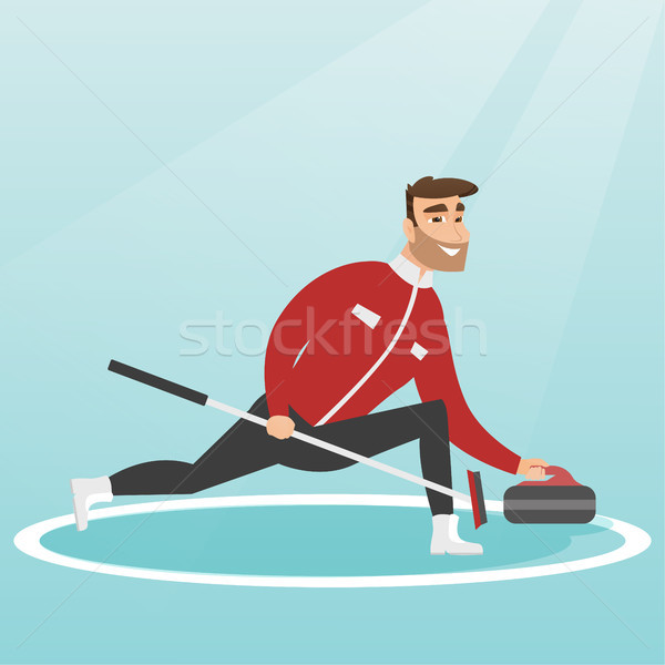 Sportsman playing curling on a skating rink. Stock photo © RAStudio