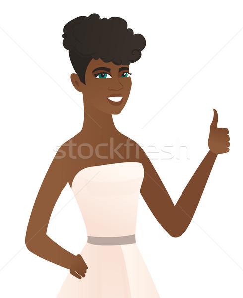 Jonge verloofde duim omhoog witte jurk glimlachend Stockfoto © RAStudio