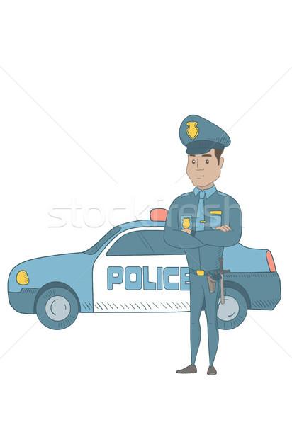 Polis memuru ayakta polis araba koyu esmer Stok fotoğraf © RAStudio