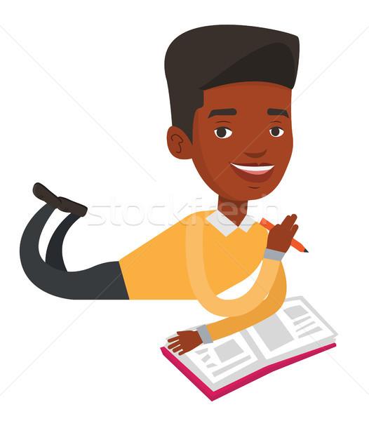 студент полу чтение книга Дать Сток-фото © RAStudio