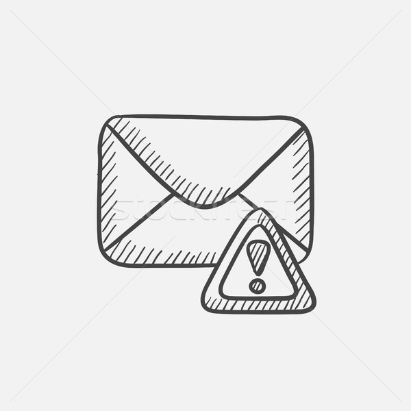 Envelope mail with warning signal sketch icon. Stock photo © RAStudio