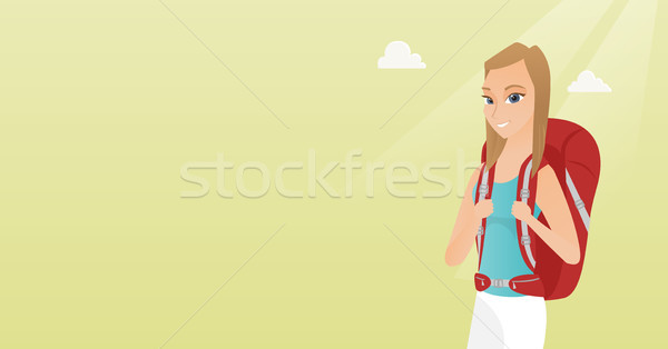 Giovani viaggiatore donna zaino bianco Foto d'archivio © RAStudio