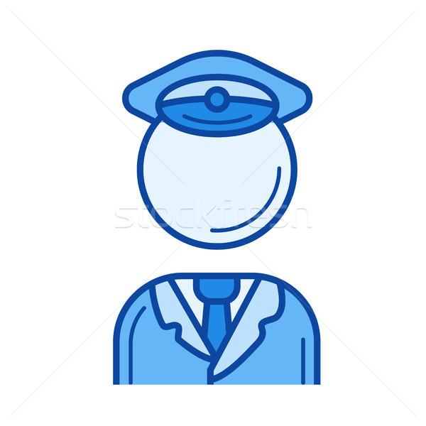 Ruchu policjant line ikona wektora odizolowany Zdjęcia stock © RAStudio