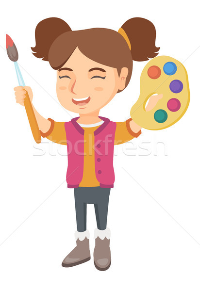 Happy girl drawing with colorful paints and brush. Stock photo © RAStudio