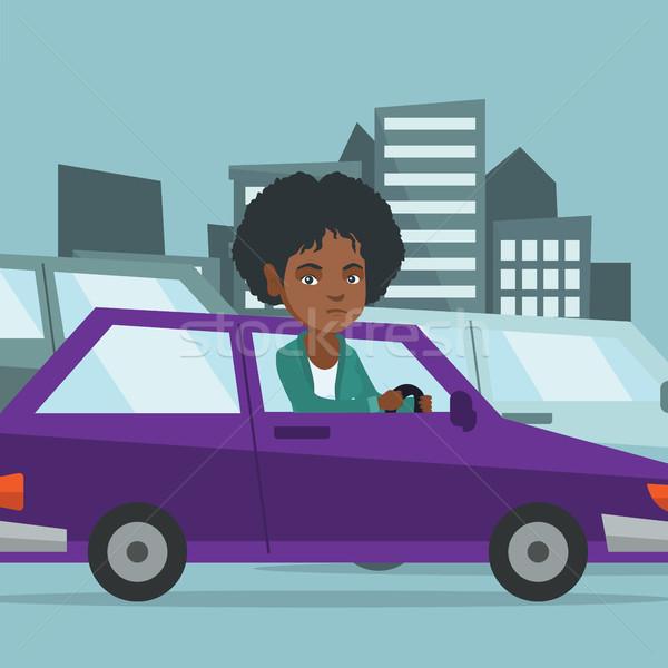 Zły Afryki kobieta samochodu korku Zdjęcia stock © RAStudio