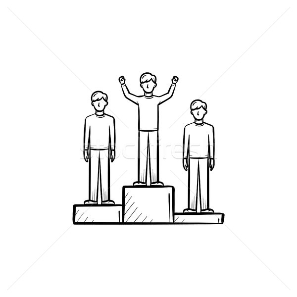 Stock fotó: Nyertes · érem · kézzel · rajzolt · rajz · ikon · győzelem