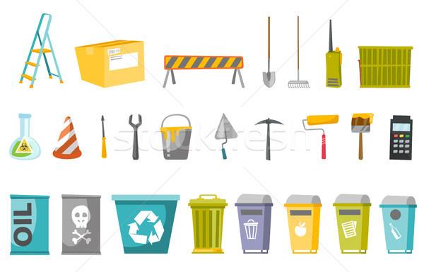 Construção ferramentas desperdiçar ilustração conjunto ilustrações Foto stock © RAStudio