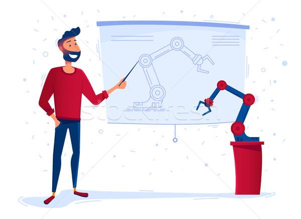 Homme présente nouvelle robotique bras robot Photo stock © RAStudio