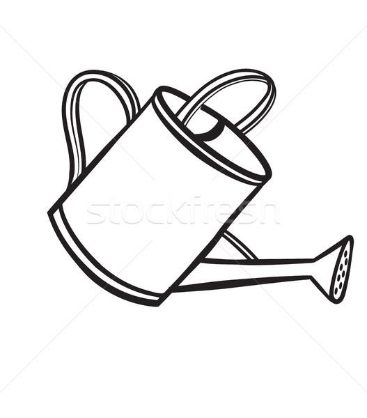 Locsol edény kézzel rajzolt rajz ikon háló Stock fotó © RAStudio