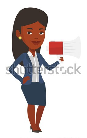 Caucasian woman promoter speaking into loudspeaker Stock photo © RAStudio
