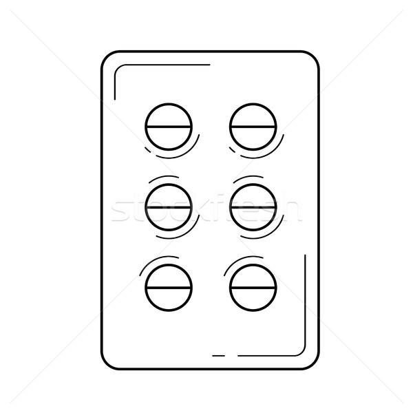 Pills box line icon. Stock photo © RAStudio