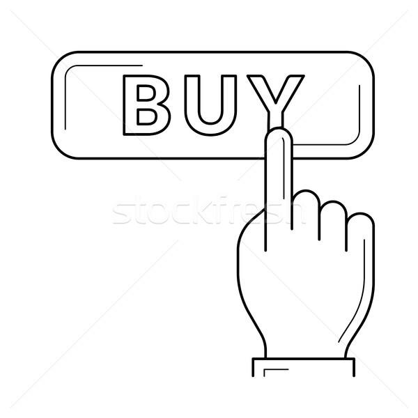 Stock fotó: Online · vásárlás · vonal · ikon · vektor · izolált · fehér