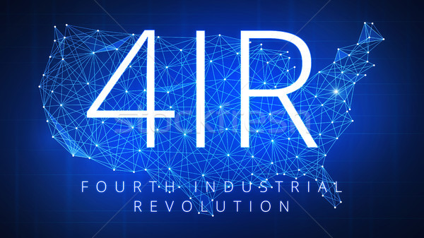 Quarto industrial revolução polígono EUA mapa Foto stock © RAStudio