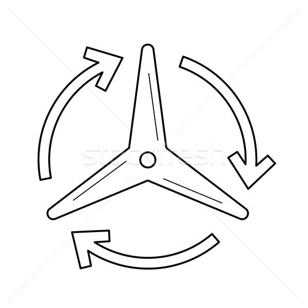 Rüzgâr jeneratör vektör hat ikon yalıtılmış Stok fotoğraf © RAStudio