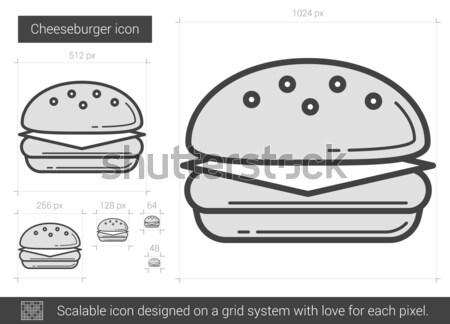 Burger vetor linha ícone isolado branco Foto stock © RAStudio