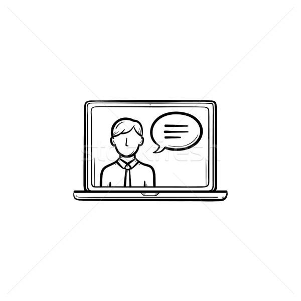 Laptop display video chat schets Stockfoto © RAStudio