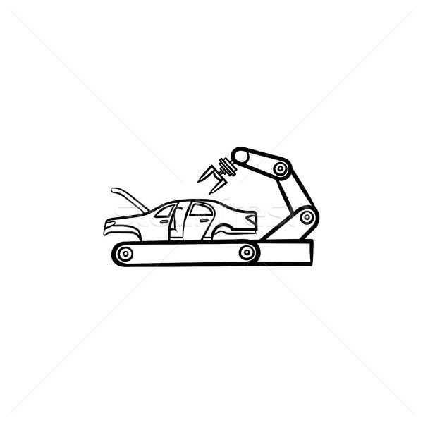 Car factory with robotic arm hand drawn outline doodle icon. Stock photo © RAStudio
