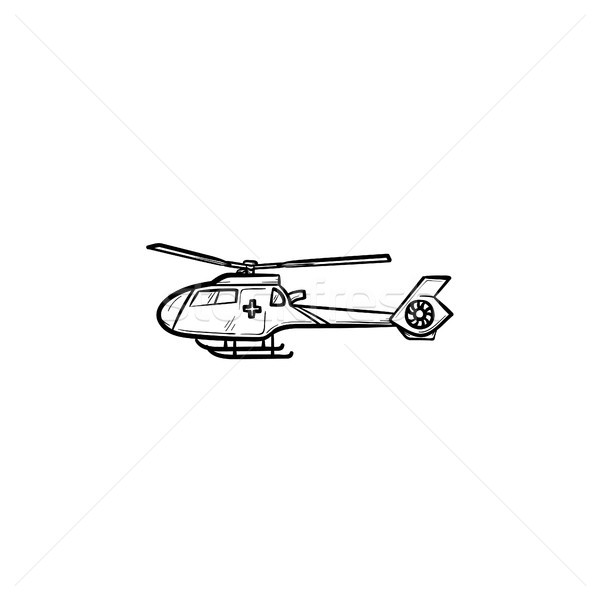 Medical helicopter hand drawn outline doodle icon. Stock photo © RAStudio