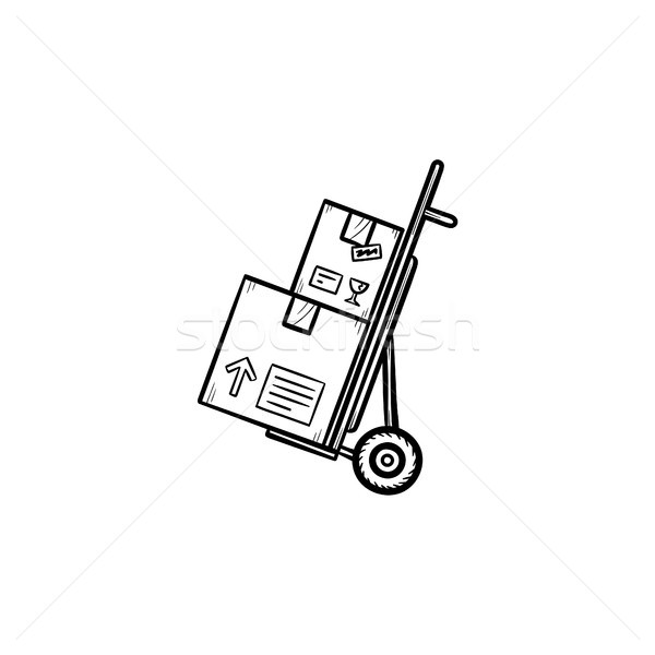Handcart with cardboard boxes hand drawn outline doodle icon. Stock photo © RAStudio